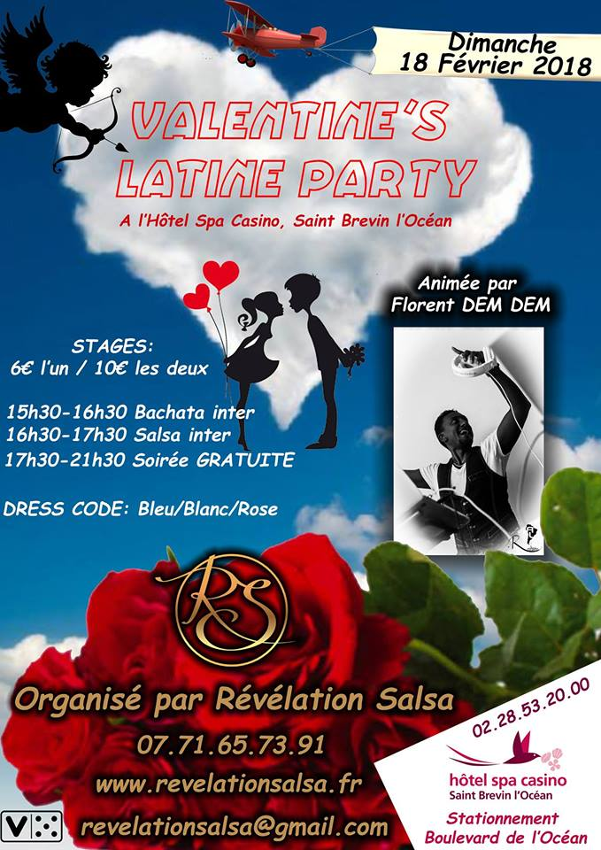Valentine's Latine Party dimanche 18 février 2018 au Casino de Saint-Brévin